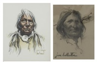 indian chief; untitled (2 works) by harley brown