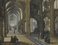 an interior of a gothic church, facing eastwards by peeter neeffs the elder
