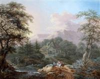 berglandschap met boeren en herder aan de rivier by johann bernard klombeck