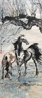 双马图 by xu beihong