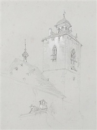 church tower, switzerland (study) by john ruskin