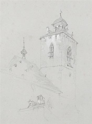 church tower, switzerland (study) by john ruskin