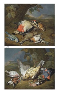 a dead ptarmigan, a bullfinch, a greenfinch and other birds, in a wooded clearing (+ a dead great spotted woodpecker, a bluetit, a bearded tit and other birds, in a wooded clearing; 2 works) by william gowe ferguson