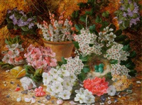 still life with fruit and flowers by henry j. livens