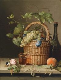 stillleben mit weidenkorb, früchten und einer rose by moritz tettelbach
