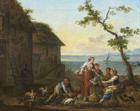 paysans devant une ferme by jean baptiste charles claudot