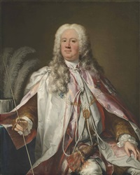 portrait of a gentleman, thought to be francis, 2nd earl of godolphin (1678-1766), three-quarter-length, in robes of the order of the bath, a wand of office in his right hand by jacopo amigoni