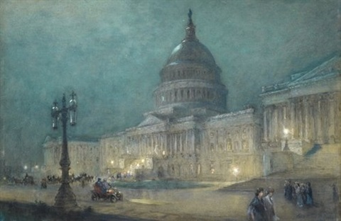 the capitol at washington night by colin campbell cooper