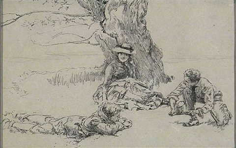 three people relaxing beneath large tree illus by edwin austin abbey