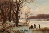 winter with playing children on a frozen lake by peter (johann p.) raadsig