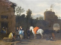 figures and a horse before an inn by simon johannes van douw