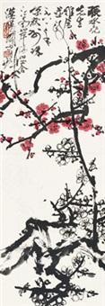 梅花 立轴 设色纸本 by guan shanyue
