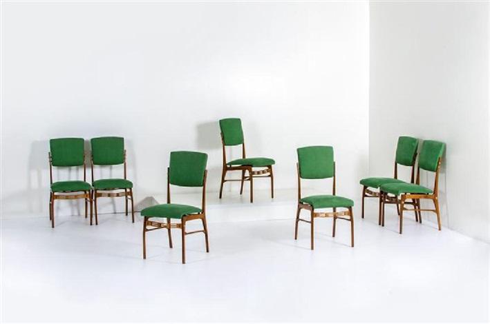 Sette sedie con struttura in legno e particolari in ottone ...