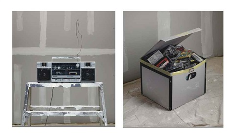 studies for smoke break 2 plasterer boombox and box of tapes in 2 parts by rodney graham