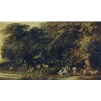 a wooded landscape with animals drinking at a stream by kerstiaen de keuninck