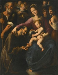 the holy family with saint francis of assisi adoring the christ child, with two youths and angels above by fabrizio santafede