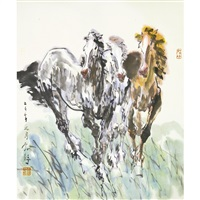 two horses by liu boshu