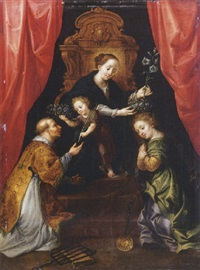 the madonna and child enthroned, adored by saint lawrence and saint martha by martin pepin
