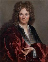 portrait d'homme au manteau rouge by joseph vivien