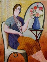 mujer con florero azul by francisco gutíerrez