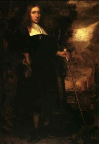 a portrait of a man standing full length in a landscape   holding a cane in his left hand by gerard van donck