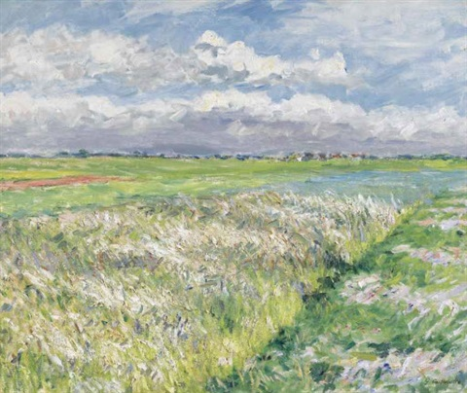 les champs plaine de gennevilliers en jaune et vert study by gustave caillebotte
