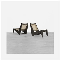 pair of kangourou lounge chairs from chandigarh by pierre jeanneret