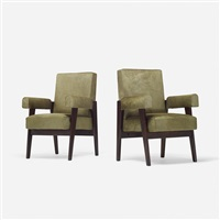 pair of armchairs from the high court, chandigarh (pair) by le corbusier and pierre jeanneret