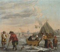 a winter landscape with men playing kolf and children on a sledge by barent avercamp