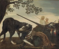 a wooded landscape with a rabbit, a woodpecker, other birds and a shotgun guarded by a hound, two hunters beyond by jan fyt
