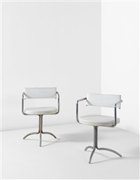 armchairs, designed for charles and alma mergentine, new york (pair) by frederick j. kiesler