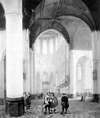 gentlemen in a church by bernardus van de laar