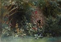 garden in bloom by konstantin egorovich makovsky