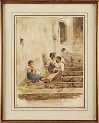 paysannes italiennes tressant des cordages by ernest hérbert