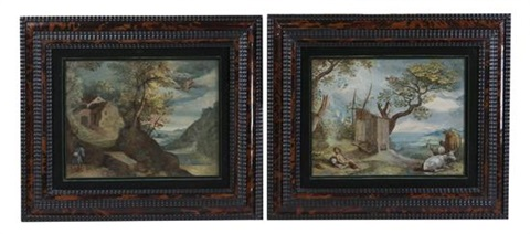 shepherd and cattle in a landscape and traveler in a landscape pair by flemish school 17