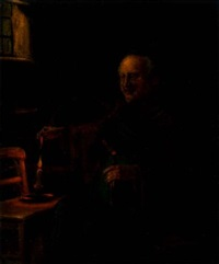 man with bottle and candle in interior by alexander austen
