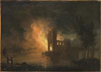 incendio notturno sul lago by gregorio fidanza
