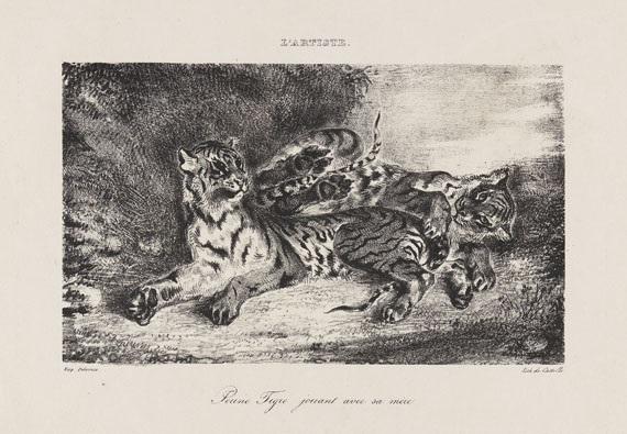 jeune tigre jouant avec sa mère by eugène delacroix