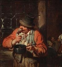 le mangeur de saucisses devant l'auberge by eugène françois de block
