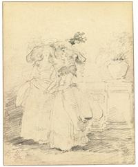 two women standing on a balustraded terrace by hubert robert