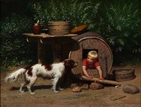 a boy playing with his dog by anton laurids johannes dorph