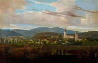 landscape with steam engine by tokaj (tarcal) by károly jacobey