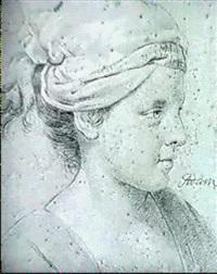 profil de jeune fille au turban by lambert-sigisbert (l'aine) adam