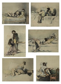 a set of six erotic lithographs from liebe by mihály von zichy
