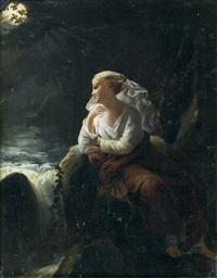 jeune fille rêvant au bord d'une cascade au clair de lune by pierre claude françois delorme