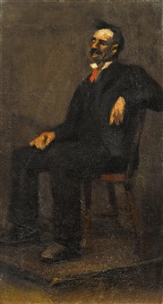 seated gentleman with red tie by edward hopper