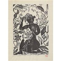 fish and flower and female buddha by shiko munakata