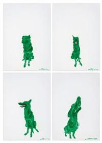綠狗(4) (green dog) (4 works) by zhou chunya