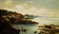 vista de cala con pescador by manul cuyas agullo