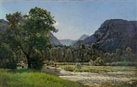 paysage de vallée animée de promeneurs et de vaches by charles félix edouard deshayes